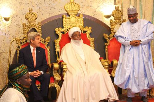 John Kerry seated with the Sultan of Sokoto