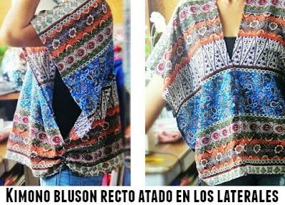 Kimono bluson recto con lazada lateral