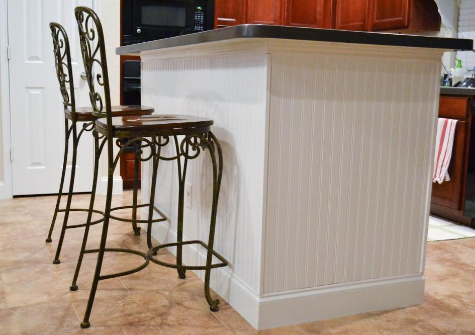 beadboard kitchen island table with high chairs makeover best ideas white paint colors overhang for vintage seating photos small