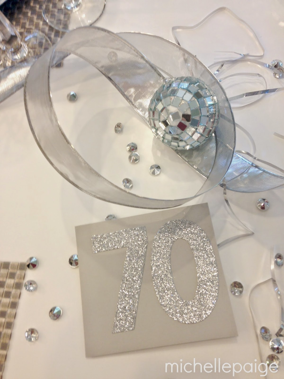 Everything Silver And Sparkly Decorated The Tables I Used Many Of My New Years Eve Decorations Plus Ribbon Placemats Mirrored Ornaments Mini