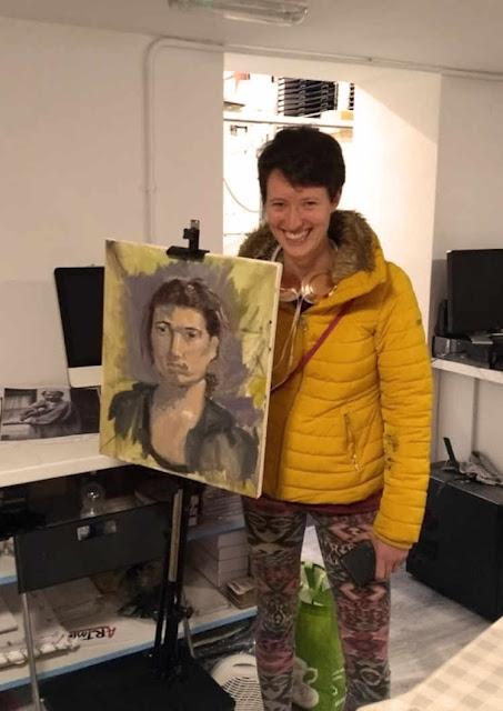 Oils study portrait painting on canvas student at Rathmines Art workshop