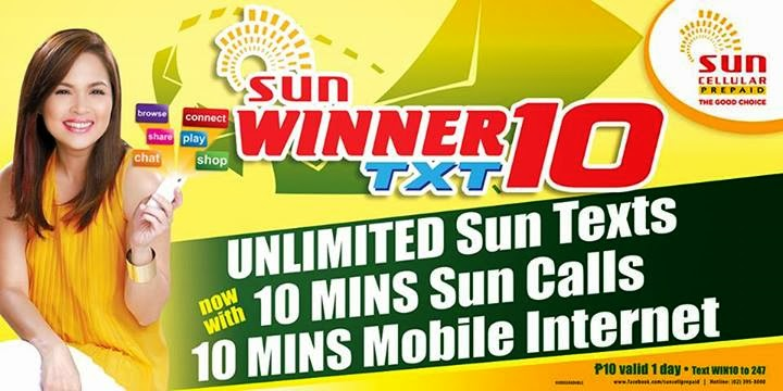 Sun Winner Text 10 promo with unli text and free Mobile Internet