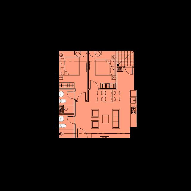 Thiết kế căn hộ A1 - 63,1m2 tòa River1 EuroWindow River Park