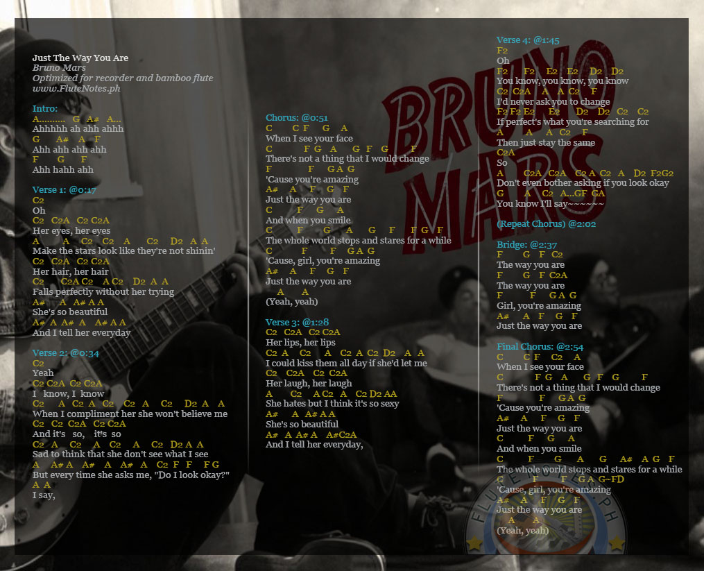 Just The Way You Are Bruno Mars Music Letter Notation With