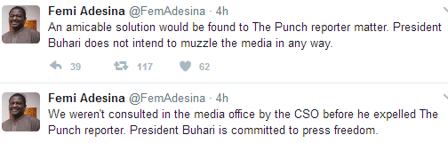 Femi Adesina reacts to Pres Buhari's CSO expelling a Punch reporter from Aso Rock