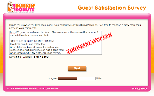 Dunkin Donuts Guest Satisfaction Survey Poems