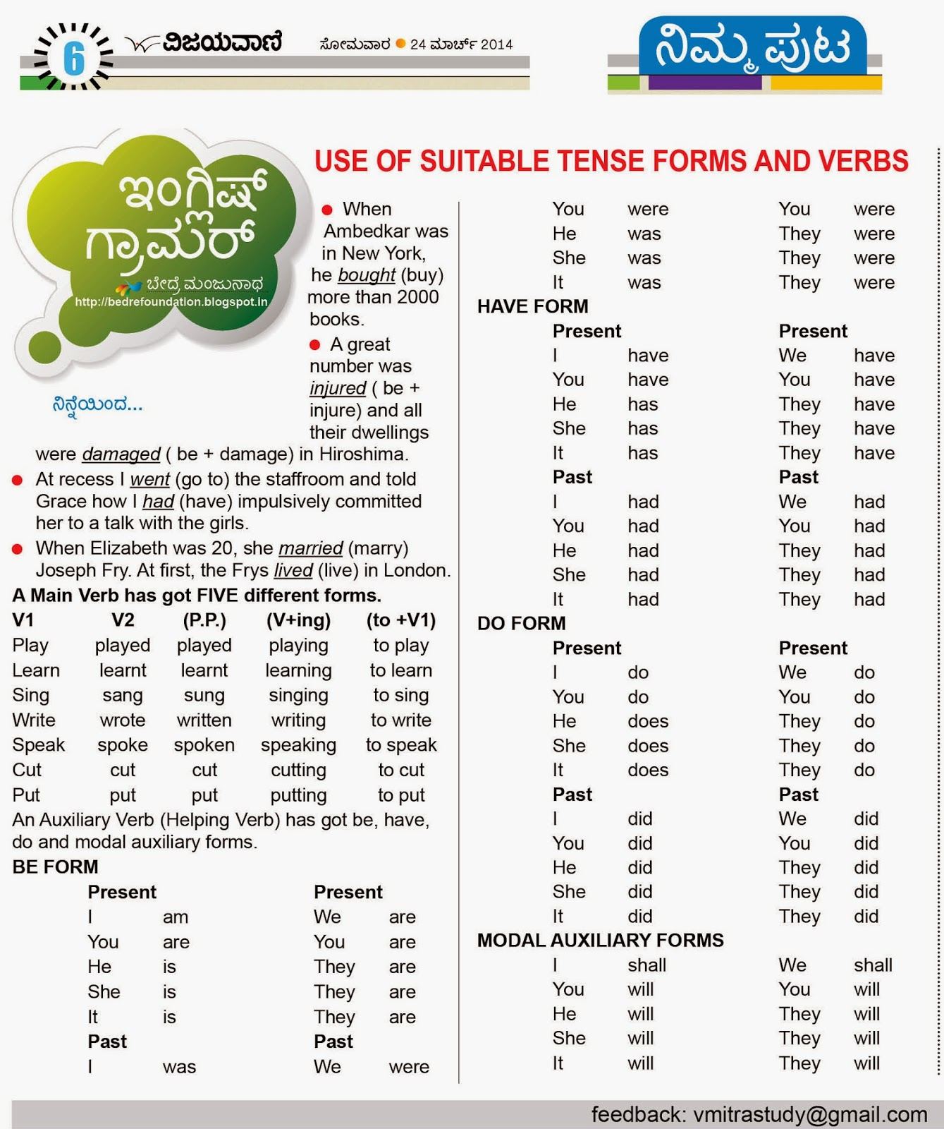 Use Of Suitable Verbs