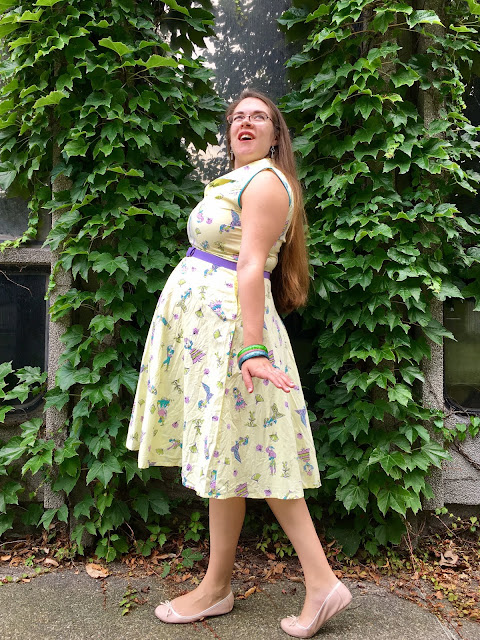 yellow true vintage novelty print sundress