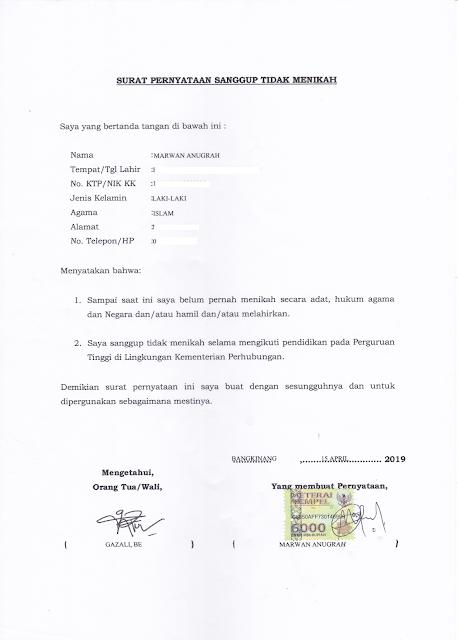 Contoh Format Surat Pernyataan Sanggup Tidak Menikah