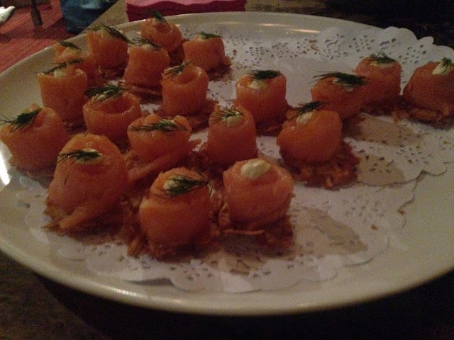 Pinkster Gin, smoked salmon canapes
