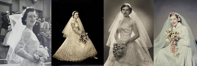 vintage 1950s bridal veils and wedding bouquets