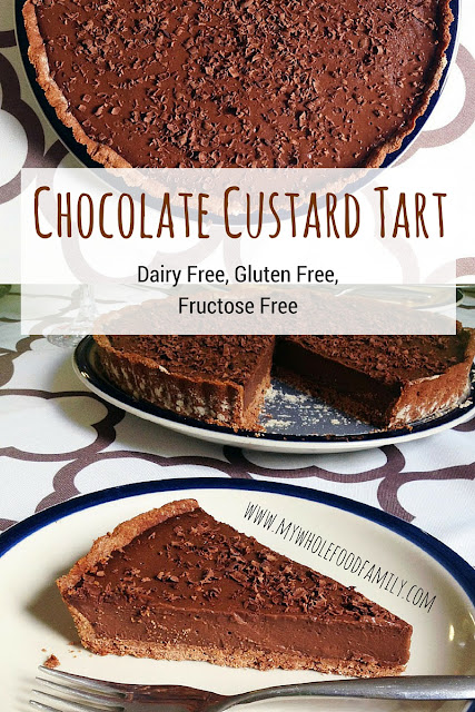 Chocolate Custard Tart - dairy free, gluten free, fructose free - no refined sugar - from www.mywholefoodfamily.com