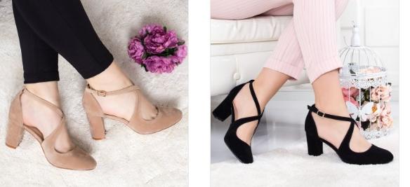 Pantofi Mikoli negri, bej eleganti de zi din piele eco intoarsa