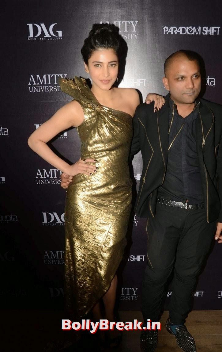 Shruthi Hasaan Photo Gallery, Shruti Hasaan in Hot Golden Dress without sleeve at Store Launch