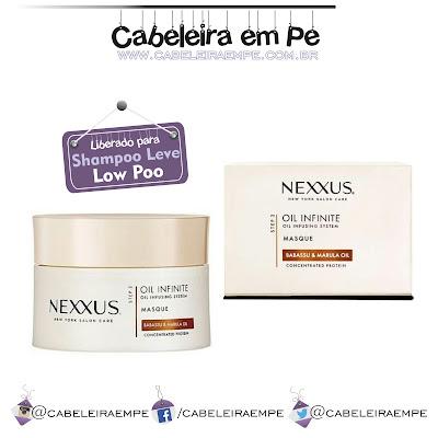 Linha internacional Oil Infinite - Nexxus. Máscara liberada para Shampoo Leve (Low Poo). Lançamento 2016 para os cabelos.
