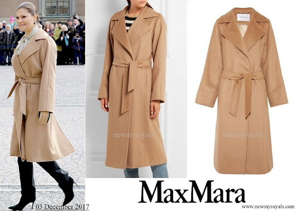 Crown Princess Victoria wore Max Mara Manuela Belted Camel Hair Coat