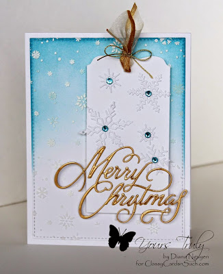 Diana Nguyen, Impression Obsession, Merry Christmas, tag, MFT Blueprints 13, snowflakes, memory box stencil