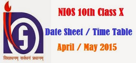 NIOS 10th Class X Secondary Date Sheet Time Tabl 2016