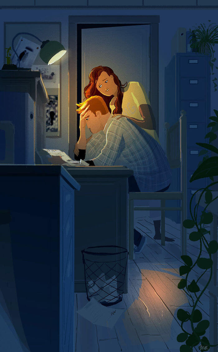 Man Creates Heartwarming Illustrations Of The Everyday Life With His Wife - Being there when he needs you