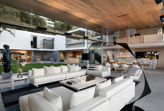 Modern living room and rest of the house on daylight