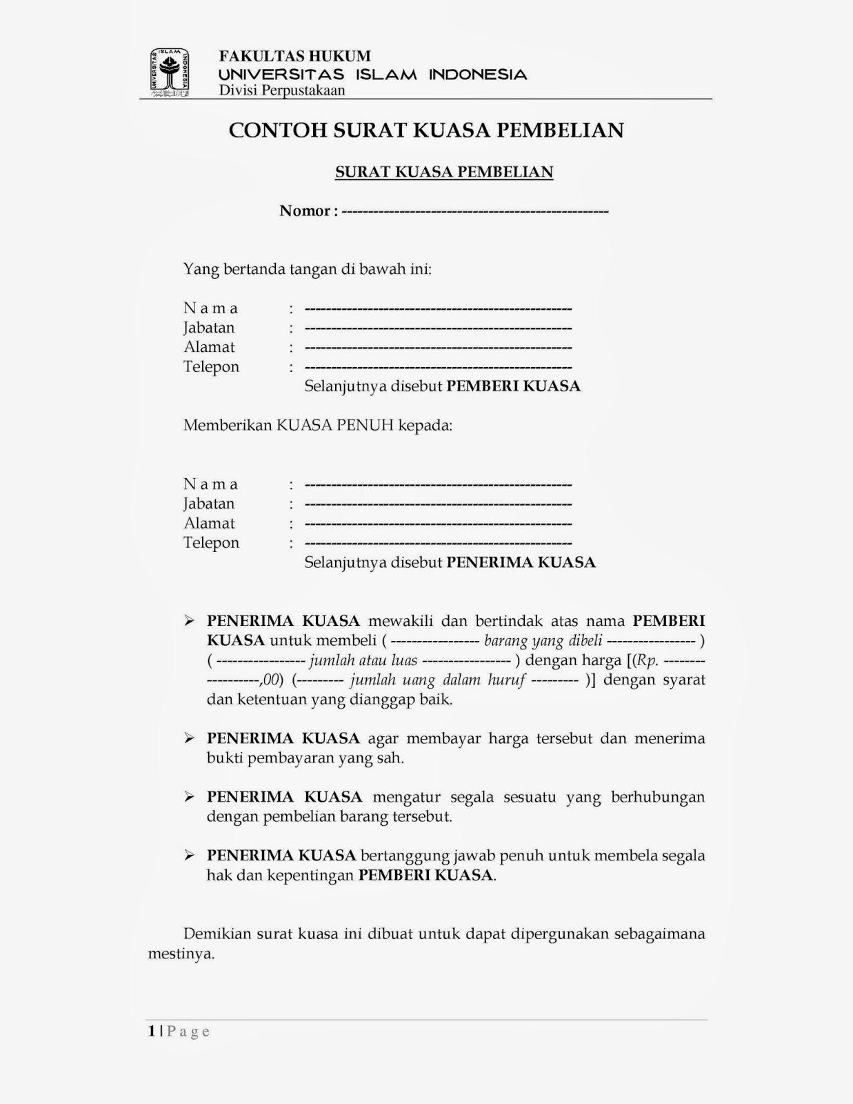 Contoh Surat Kuasa Penjualan Dan Pembelian Murad Maulana