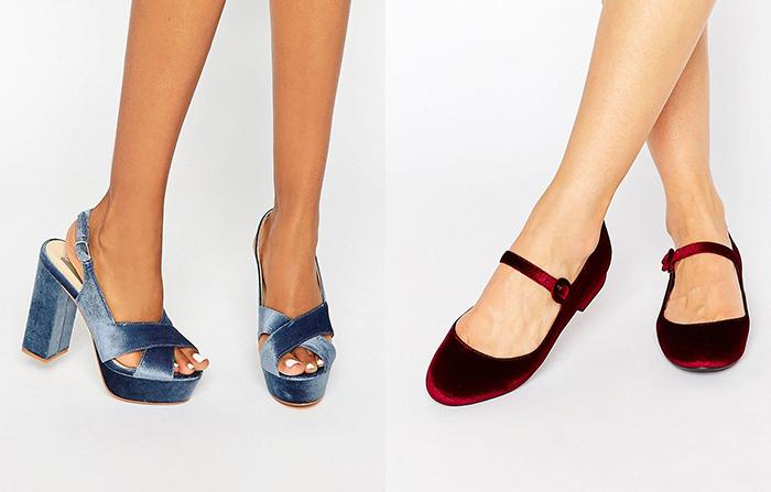 scarpe in velluto tendenza