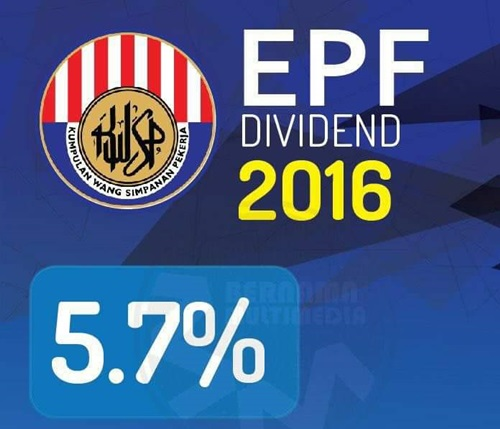 kadar dividen kwsp 2016, bayaran dividen kwsp 2017, kwsp umum dividen 5.70 peratus bagi tahun 2016, pembayaran dividen kwsp tahun 2017, beza dividen kwsp tahun 2014, 2015 dan 2016