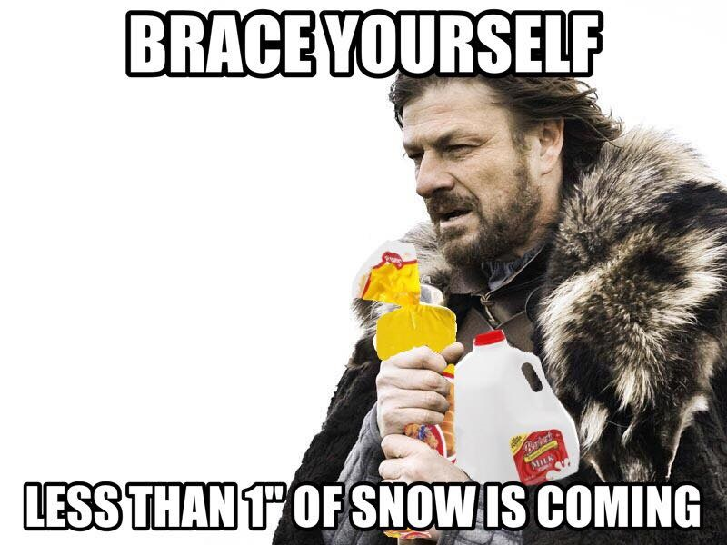 winter is coming south bread milk ginny in boston it's snowing! cancel everything! except for your