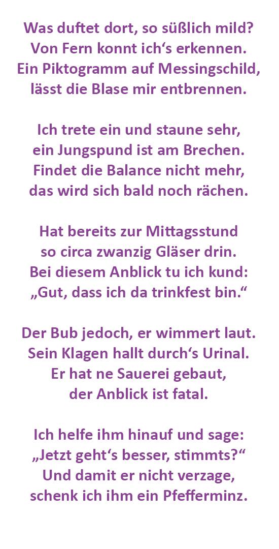 Lettersplatter Gedicht Der Woche Das Herren Wc