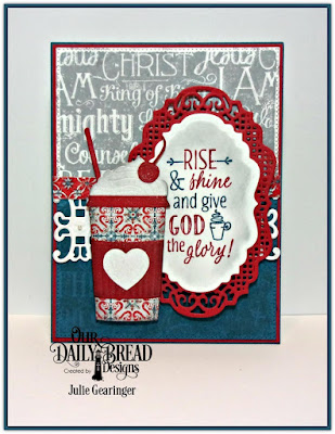 Our Daily Bread Designs Stamp Sets: Rise and Shine, Chalkboard Word Collage, Our Daily Bread Designs Custom Dies: Beverage Cup, Vintage Border, Vintage Label, Flourished Star Pattern, Trellis, Our Daily Bread Designs Paper Collection: Americana Quilt