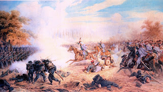 The Polish painter Juliusz Kossak's depiction of the Austrian 13th regiment attacking Italian bersaglieri during the battle