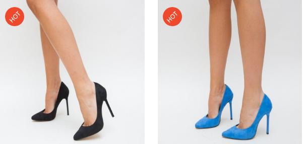 Pantofi negri, albastri din piele ceo intoparsa cu toc de ocazii