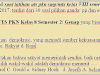 Soal UTS PKN Kelas 8 Semester 2/ Genap Th. 2016 2017