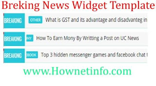 Breaking News Ticker Widget Template For Blogger hindi me