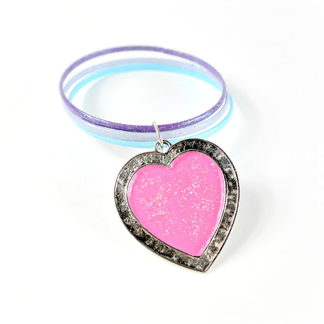 Upcycled Bangle Bracelets and Heart Charm Using ColorBox Color Eclipse Mixed Media Ink and Twinkle Dust Glitter
