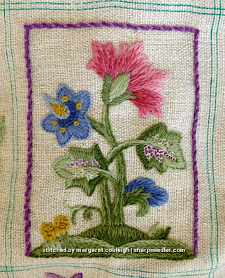 Crewel Sampler (by Elsa Williams): Central motif with purple border