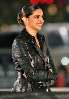 Smiling Deepika Padukone in Black Leather jacket on the Sets of her Hollywood movie