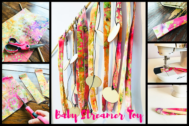child sensory toy, how to make a childs sensory toy, homemade baby toys, crafting, homemade toys, streamer toy, baby toy, infant sensory toy, homemade, homemade toys