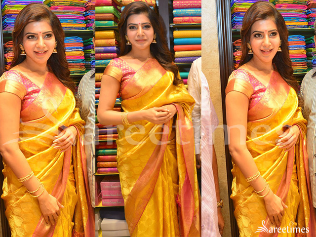 f63626a2dced8b Samantha Prabhu at South Indian Shopping Mall in Gachibowli wearing a  beautiful mustard yellow kanchipuram silk saree that has gold and pink  border paired ...
