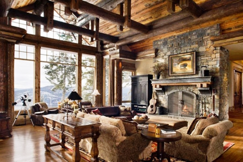 rustic style home interior design decorating combined with