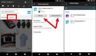 cara mencari aplikasi yang support instan app