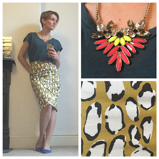 Boden pringted skirt and warehouse top and necklace