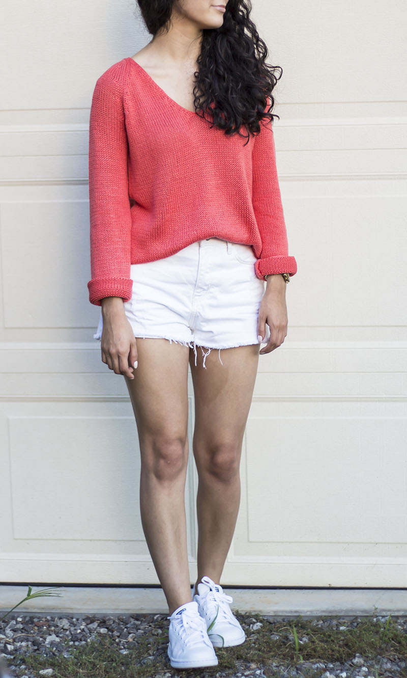 bright knit sweater and white cutoff shorts and adidas stan smith outfit