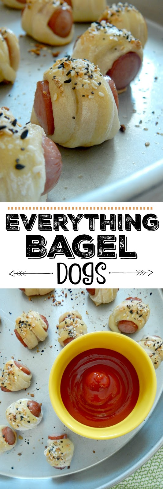 Everthing Bagel Dogs...perfect party appetizer! Great finger food for the Super Bowl, potlucks, tailgating or appetizer nights. (sweetandsavoryfood.com)