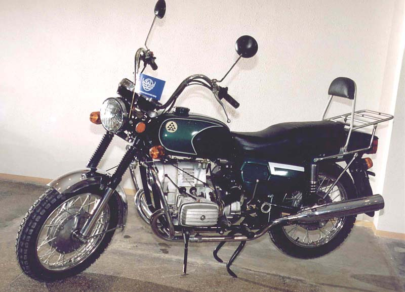 "a ""chopper"" model of a Dnepr motorcycle"