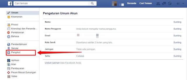 aktifkan tombol follow pada facebook