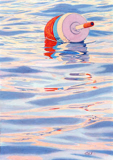 Red Blue White Buoy - Watercolor By Paul Sherman
