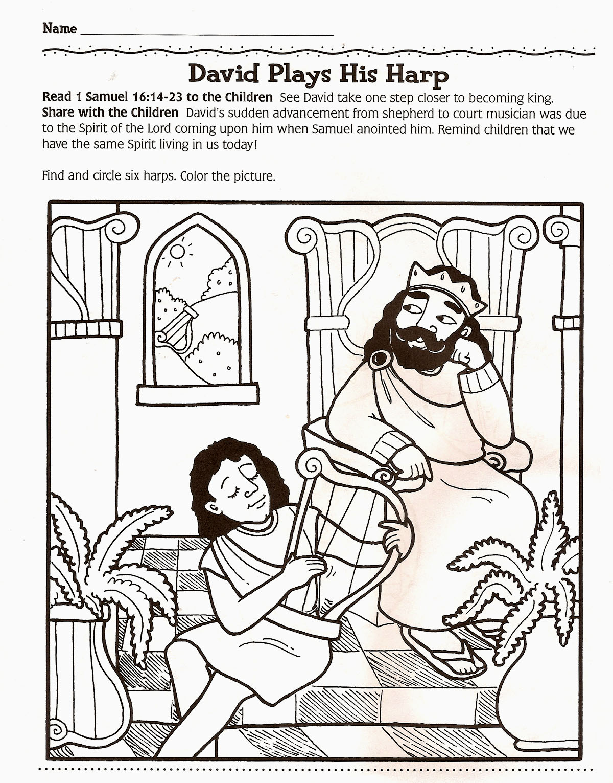 King david harp coloring page coloring pages amor pelo ministerio infantil atividade pr escolar