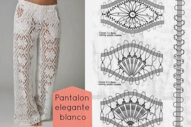 Pantalon Tricot Elegante Blanco Patron