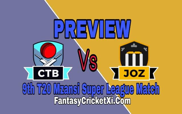 JOS Vs CTB 9th T20 Match Dream11 Team Prediction